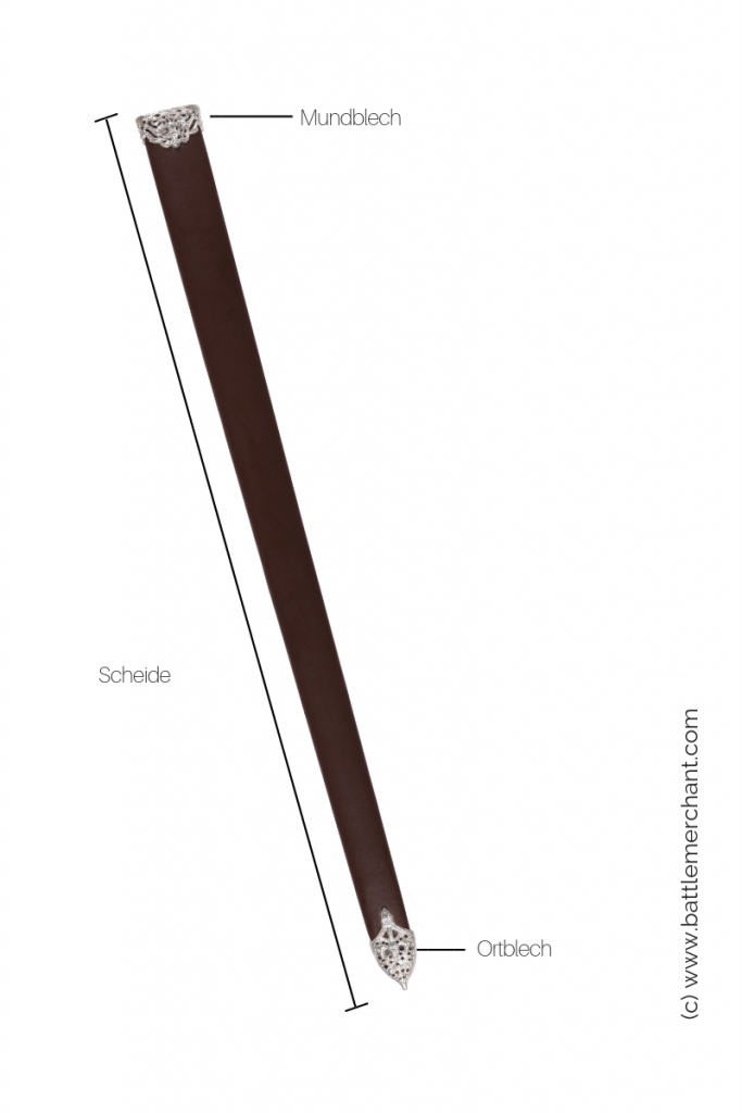 Die Schwertscheide gewährleistet einen sicheren Transport des Schwertes. Sie wird oft am Gürtel um die Hüfte oder an einem Schwertgurt über die Schulter getragen.