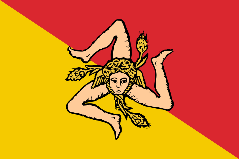 Die Triskele in der Flagge Siziliens