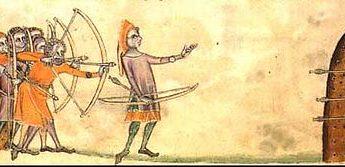 Englische Langbogenschützen bei einer Schießübung (1325) aus dem Luttrell Psalter
