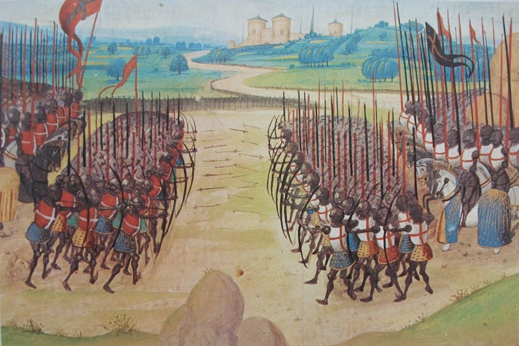 "Schlacht von Azincourt - Aus den ""Chroniques d'Enguerrand de Monstrelet (frühes 15. Jahrhundert)"