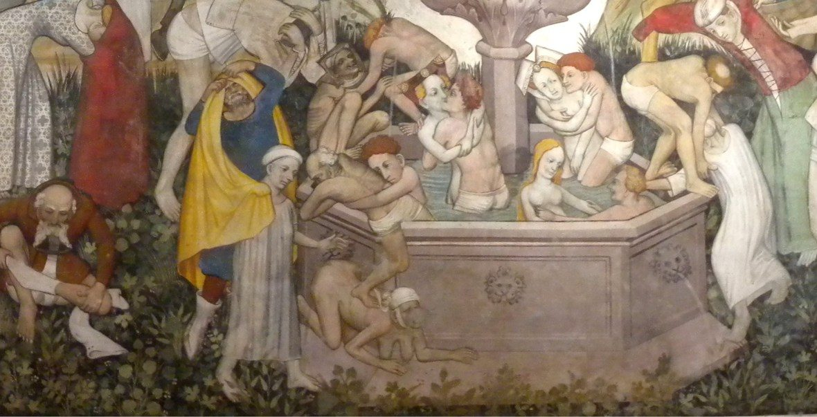 Fountain of Life fresco painted from 1418-1430 by Giacomo Jaquiero at Castello della Manta.
