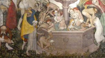 Fountain of Life fresco painted from 1418-1430 by Giacomo Jaquiero at Castello della Manta.