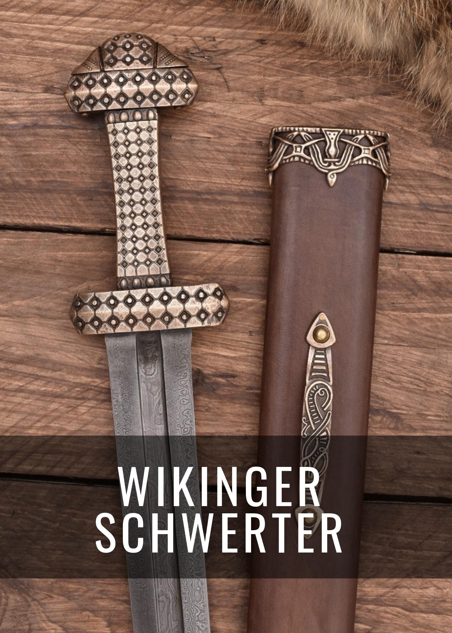 Das Schwert war die wichtigste Waffe der Wikinger. Bei uns findest Du eine große Auswahl, sowohl für Schaukampf als auch als Deko