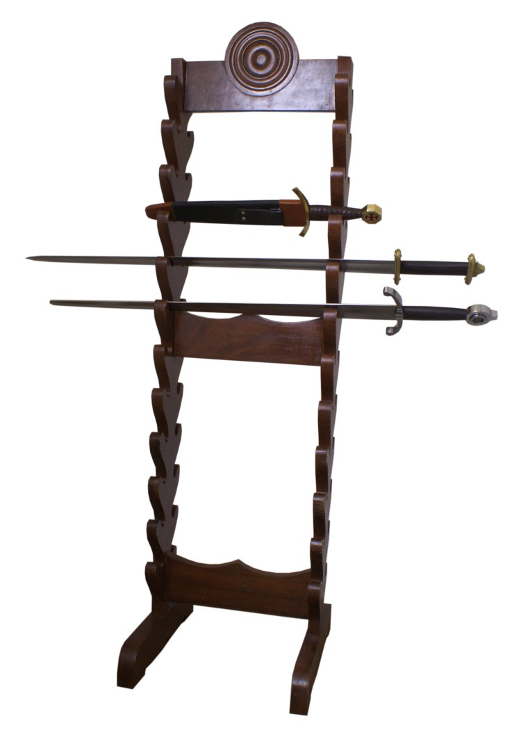 Schwertständer aus Holz für 24 Schwerter und Dolche