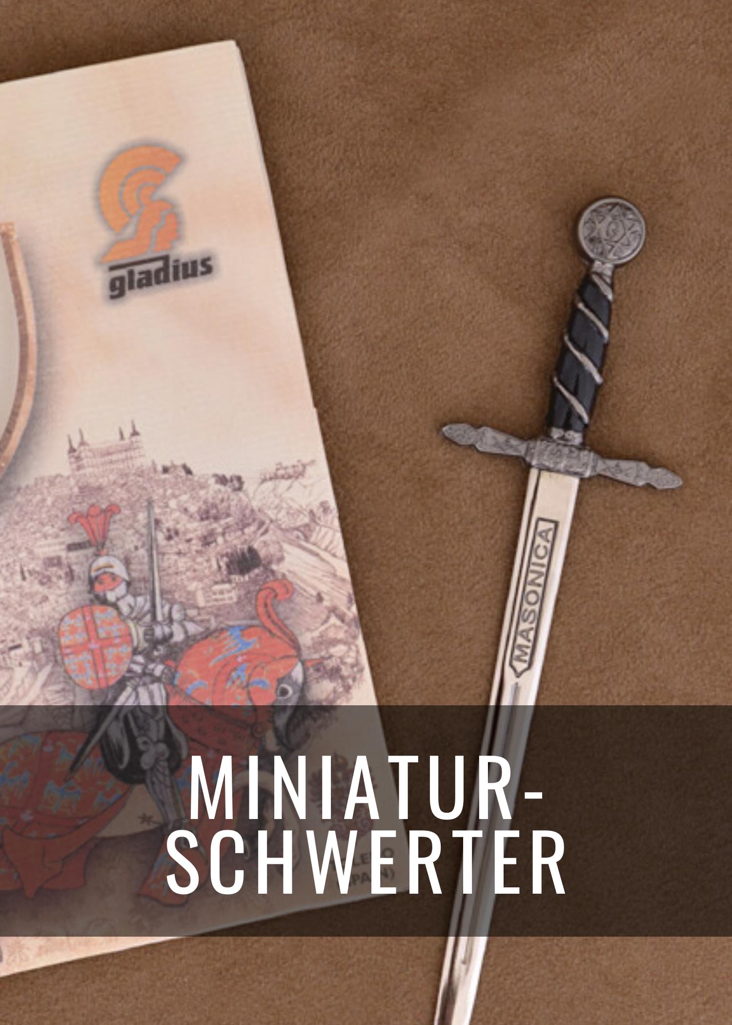 Diese Miniatur-Schwerter sind ihren historischen Vorbildern detailgetreu nachgebildet