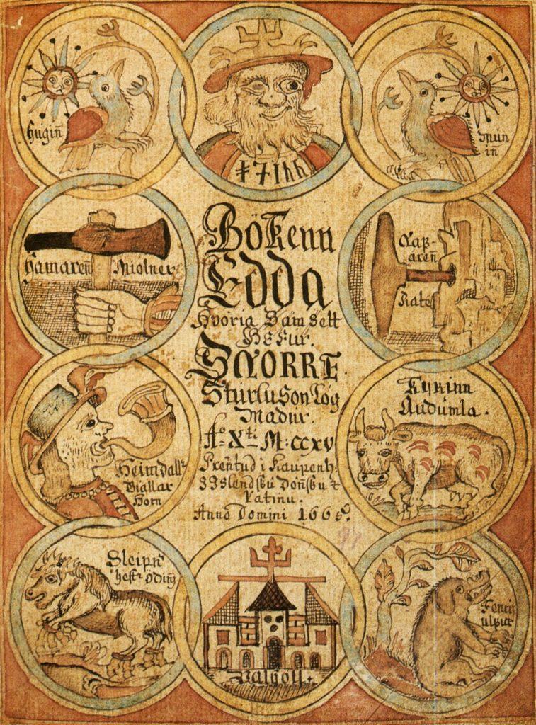 Titelblatt einer Abschrift der Snorra-Edda aus dem 18. Jahrhundert