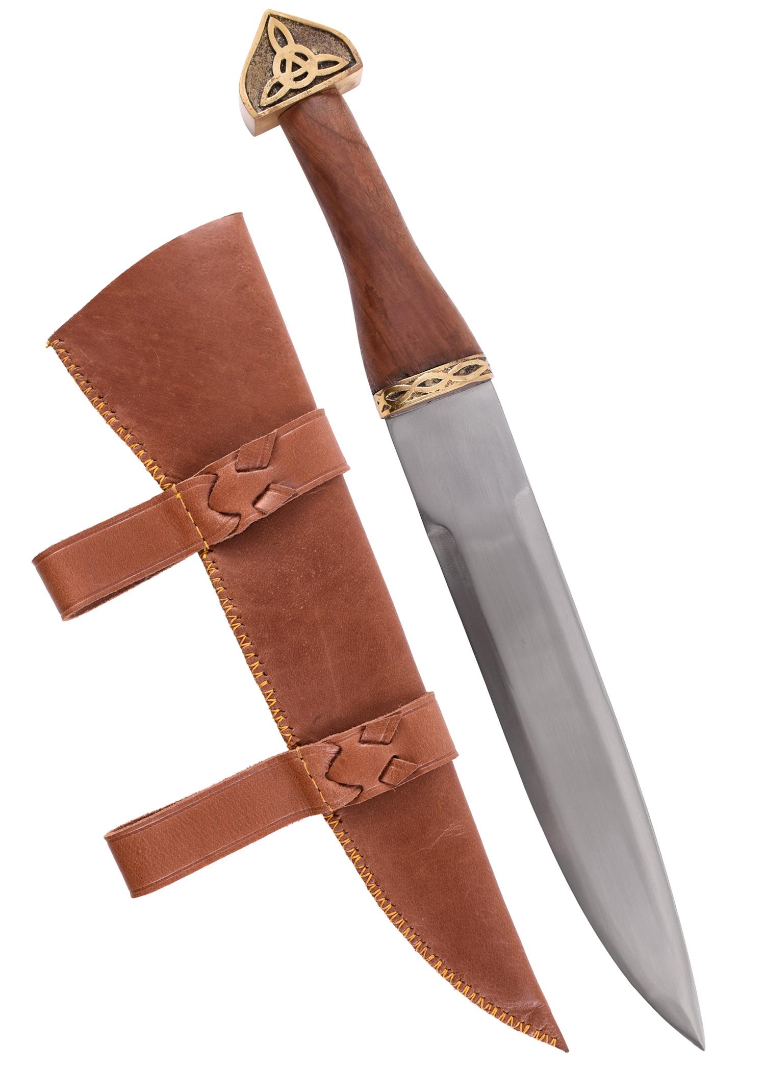 Wikinger-Sax mit brauner Lederscheide und Holzgriff