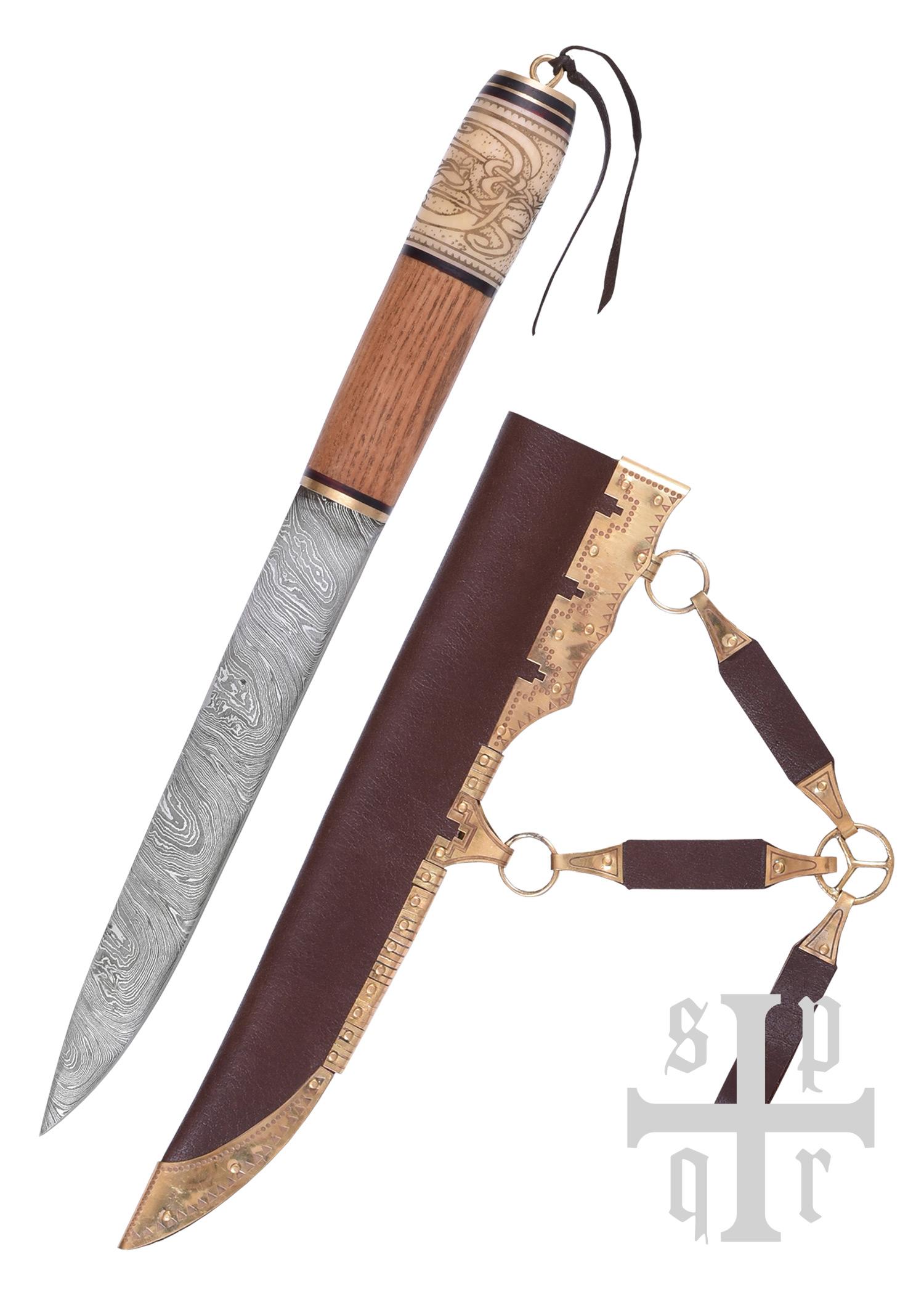 Wikinger-Messer, Damaststahl, Holz-/Knochengriff m. Knotenmuster