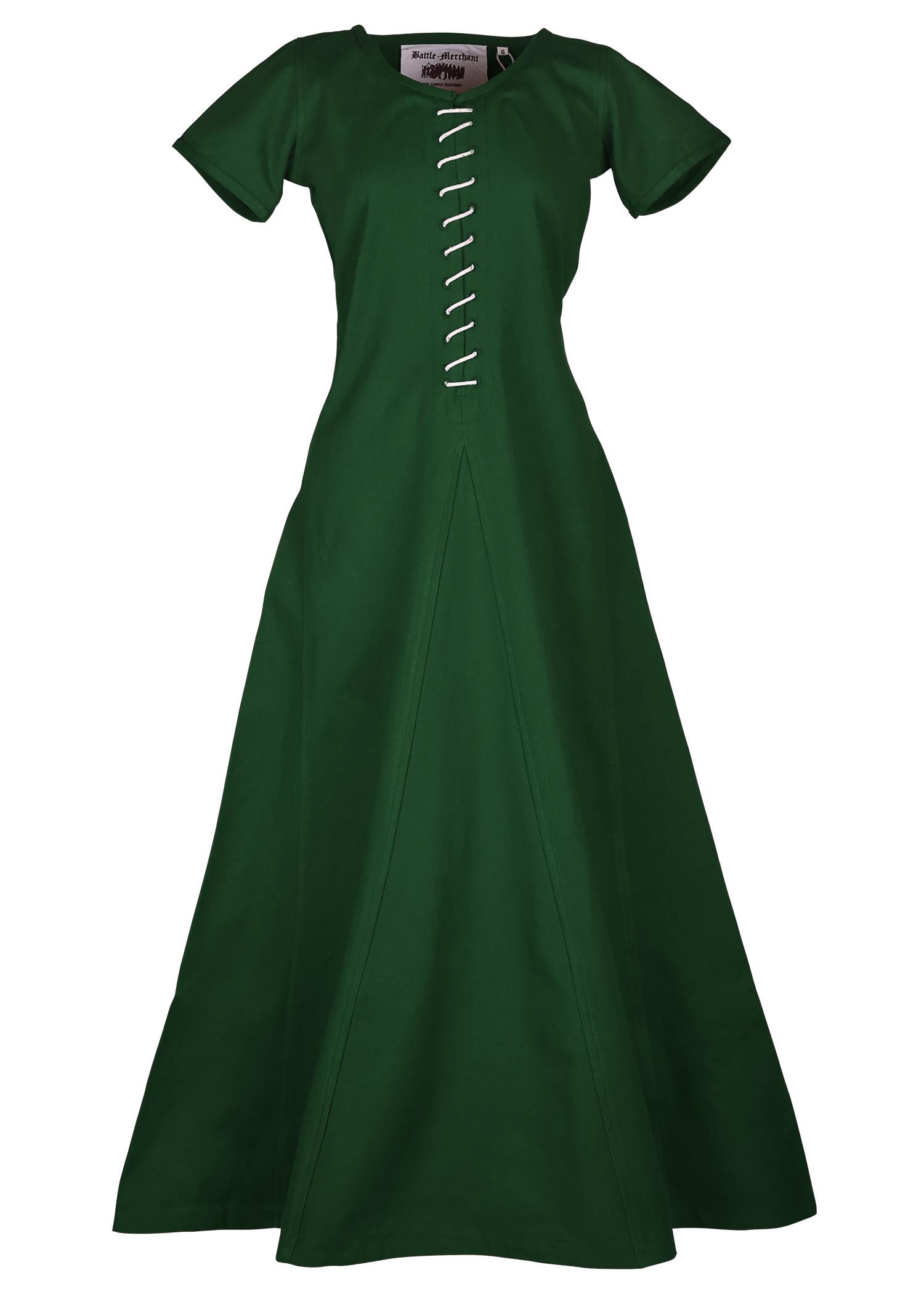 Kurzärmelige Cotehardie Ava, Mittelalterkleid, grün