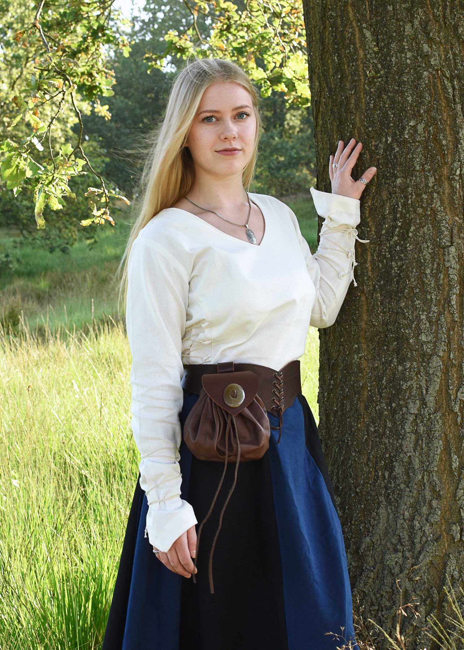 Mittelalter Bluse Aila mit Schnürung, natur