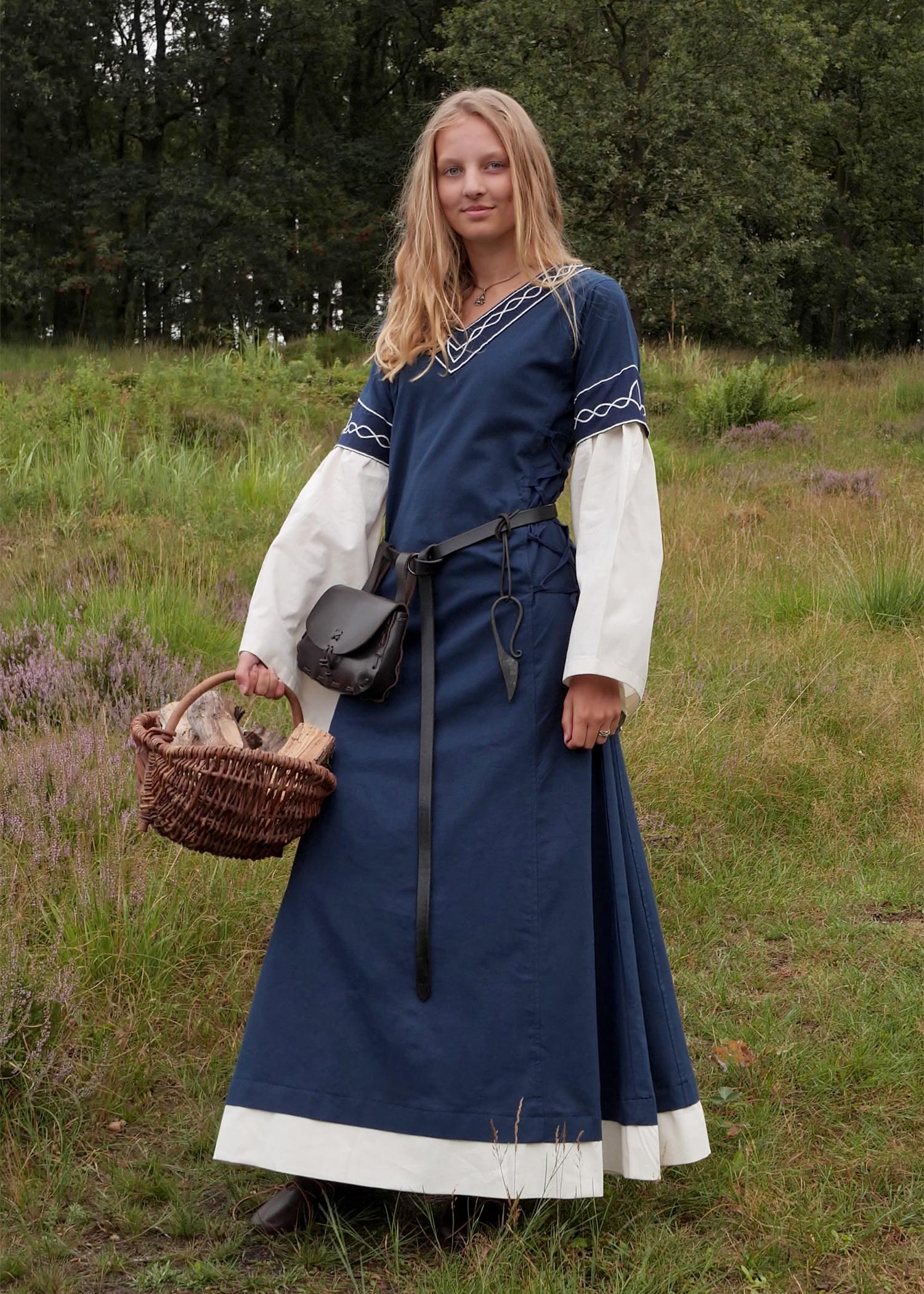 Mittelalterkleid Alvina, blau/natur