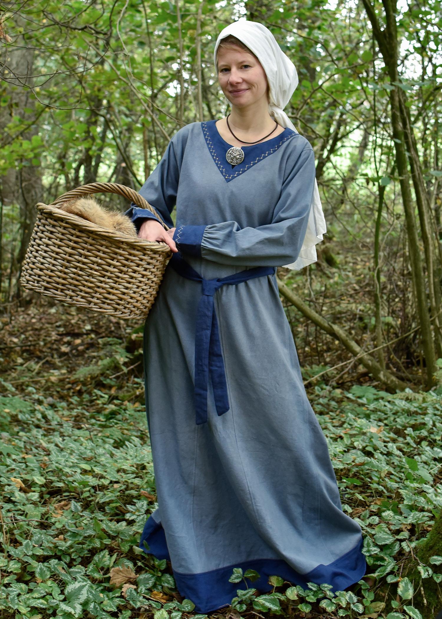 Wikinger Kleid Jona, blaugrau/blau