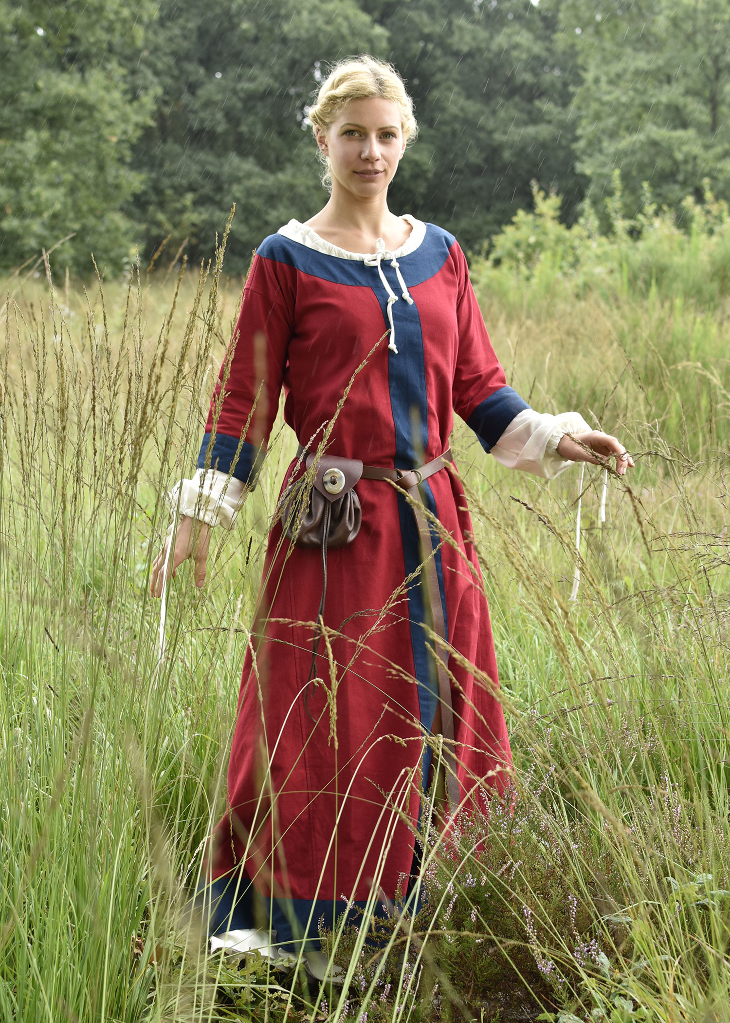 Mittelalterkleid Gudrun, rot/blau
