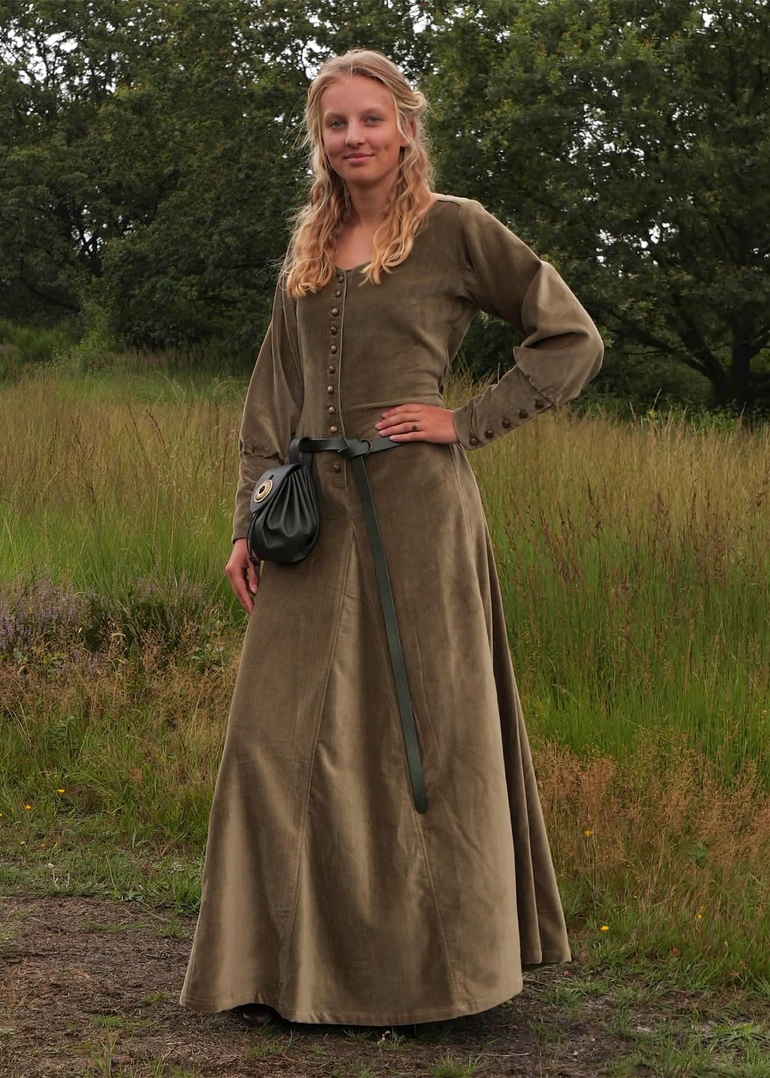 Cotehardie Isabell aus Samt, Mittelalterkleid, grün