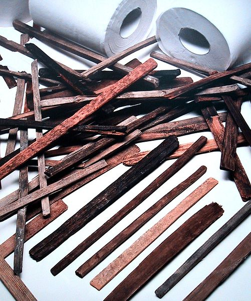 "Wooden rods resembling spatulas from the Nara period, so-called ""chugi"", had the end wrapped in cloth and were probably used for cleaning after going to the toilet. The modern toilet paper in the picture is only used to illustrate the size."