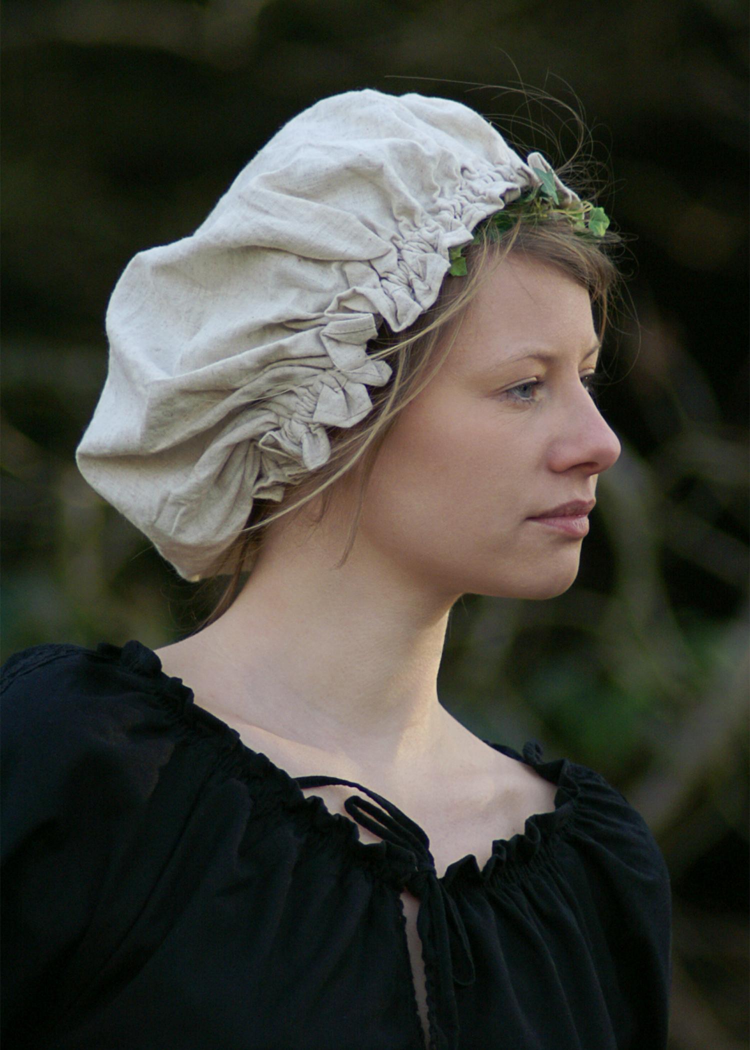 Mittelalterliche Damenhaube, verschiedene Farben