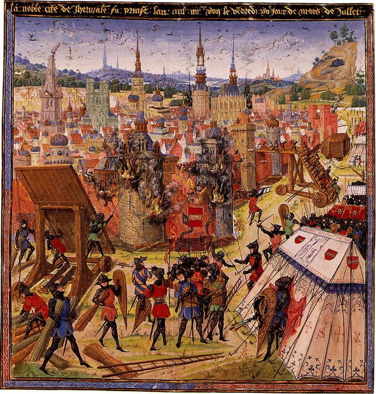 Die Belagerung von Jerusalem, 1099; Illustration vermutlich aus dem 14. / 15. Jahrhundert