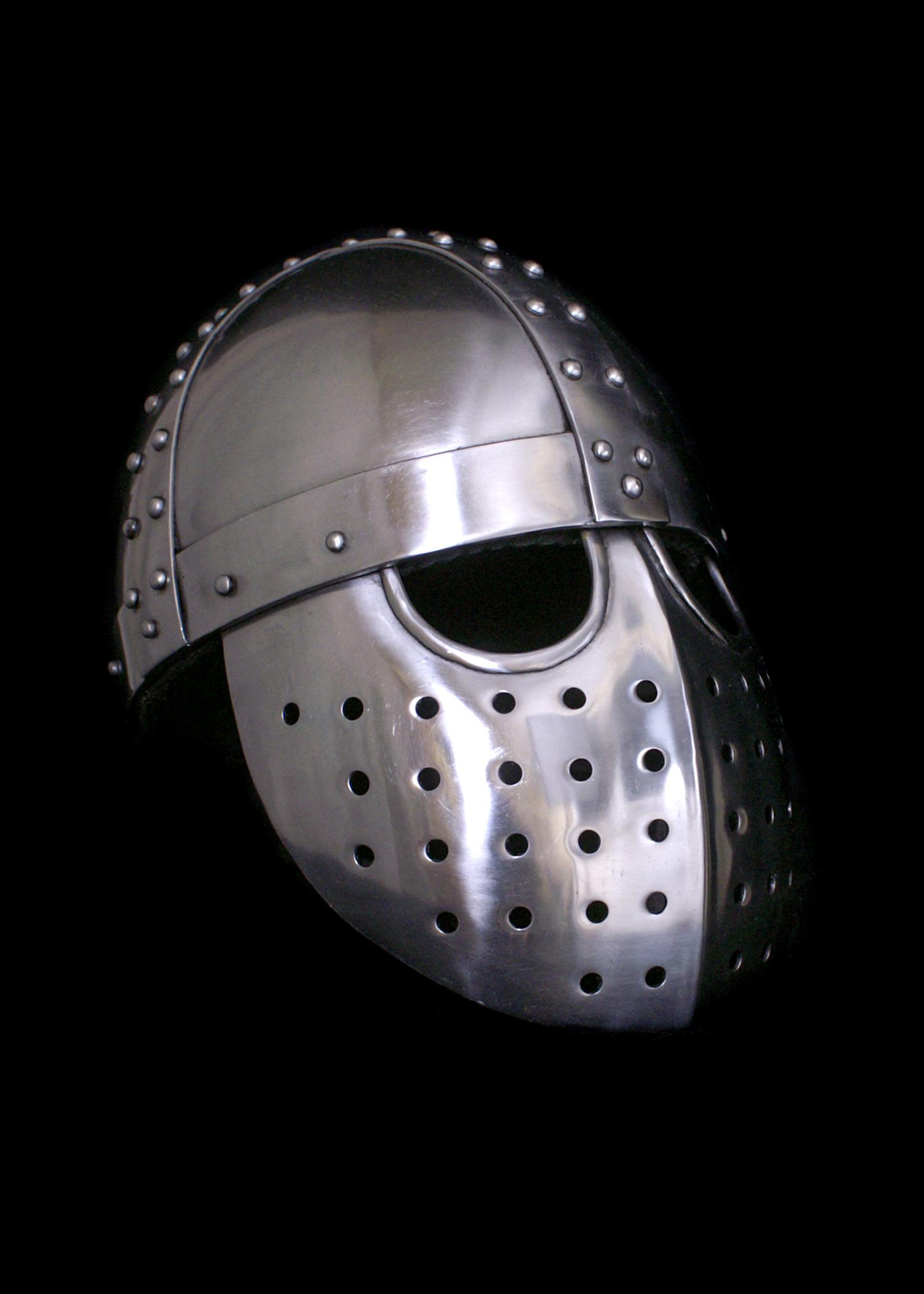 Kreuzfahrer Spangenhelm mit Gesichtsplatte, 2 mm Stahl, schaukampftauglich