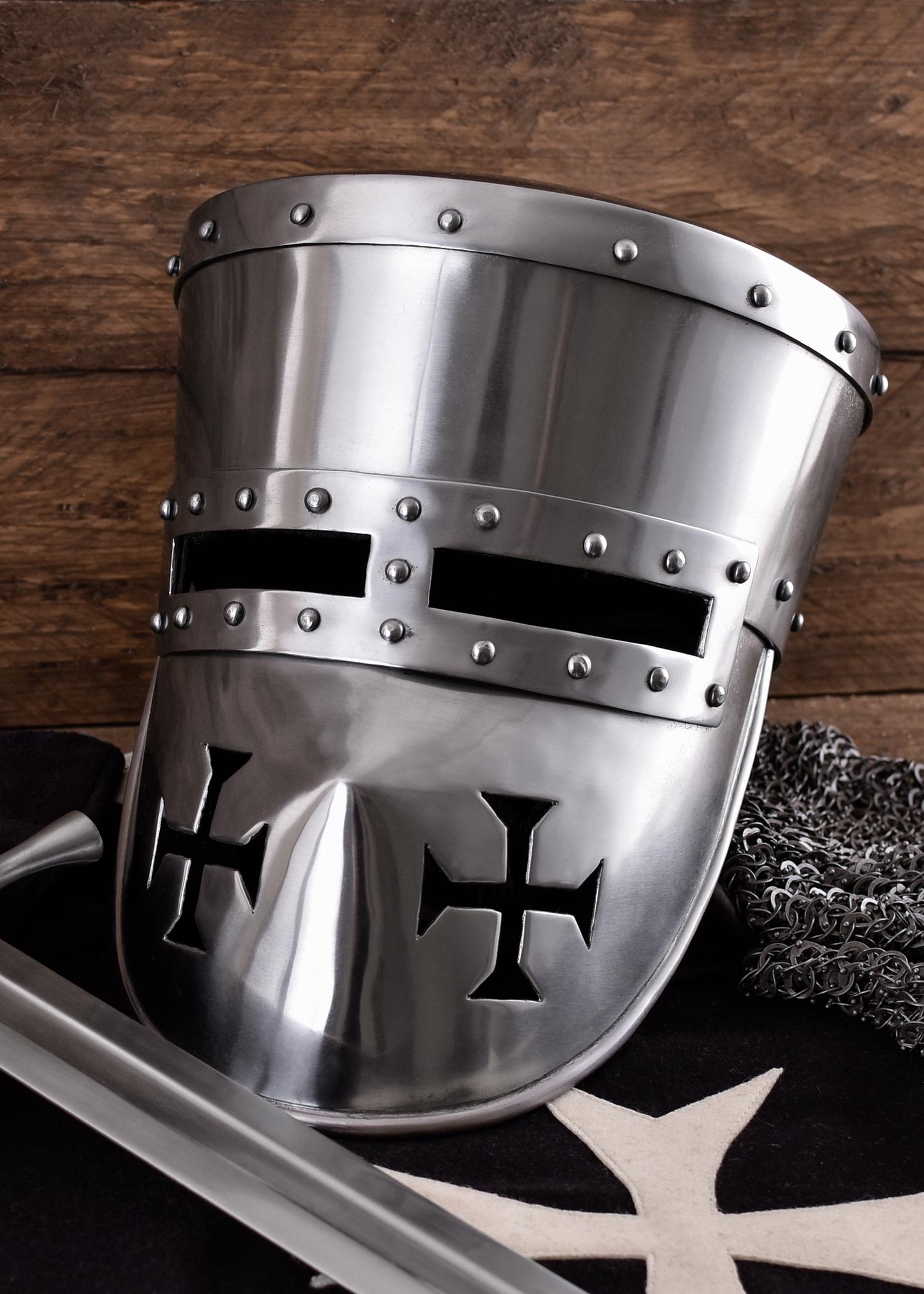 Kreuzritter Helm, 2 mm Stahl, schaukampftauglich