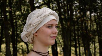 Mittelalter Kopftuch Wimpel binden und wickeln